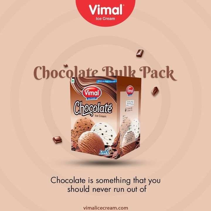 Vimal Chocolate Bulk Pack Ice cream is a must at your home because Chocolate is something that you should never run out of.  #VimalIceCream #IceCreamLovers #Vimal #IceCream #Ahmedabad