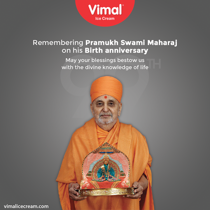 Remembering Pramukh Swami Maharaj on his Birth anniversary.  May your blessings bestow us with the divine knowledge of life.  #PramukhSwamiMaharaj #BirthAnniversary #VimalIceCream #IceCreamLovers #Vimal #IceCream #Ahmedabad