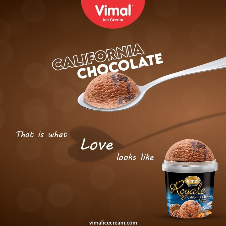 California Chocolate  That is what love looks like. Grab yours now and fall in love with the chocolaty delight.  #VimalIceCream #IceCreamLovers #Vimal #IceCream #Ahmedabad