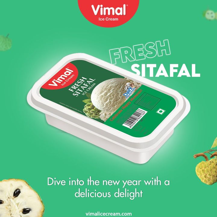 Dive into the new year with a healthy delight of fresh sitafal ice creams by Vimal Ice Cream.  #VimalIceCream #IceCreamLovers #Vimal #IceCream #Ahmedabad