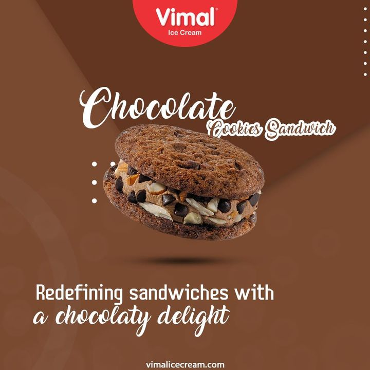 Redefining sandwiches with a chocolaty delight. Utterly delicious Chocolate Cookies Sandwich Only by your favorite Vimal Ice Creams.  #VimalIceCream #IceCreamLovers #Vimal #IceCream #Ahmedabad