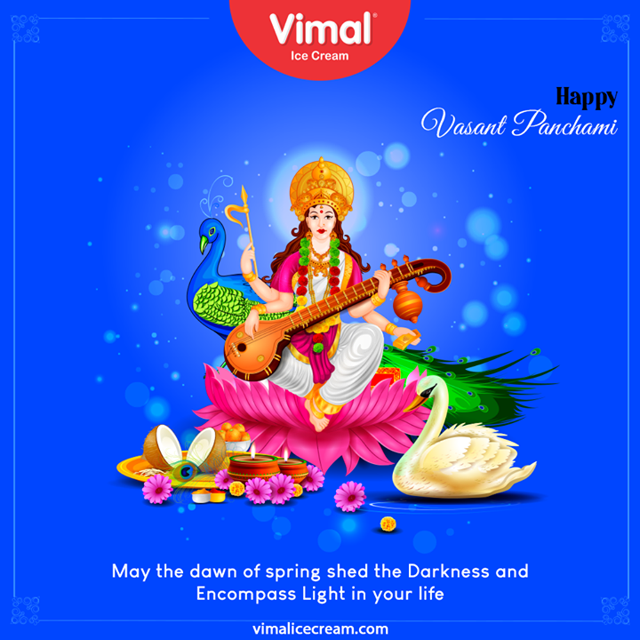 May the down of spring shed the Darkness and Encompass Light in your life  #VasantPanchami #HappyVasantPanchmi #SaraswatiPuja #VasantPanchami2021 #VimalIceCream #IceCreamLovers #Vimal #IceCream #Ahmedabad