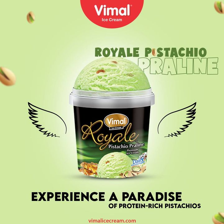 Experience the paradise with our creamy, rich texture Royale ice-creams. Try out the Royale Pistachio Praline Today.  #VimalIceCream #IceCreamLovers #Vimal #IceCream #Ahmedabad