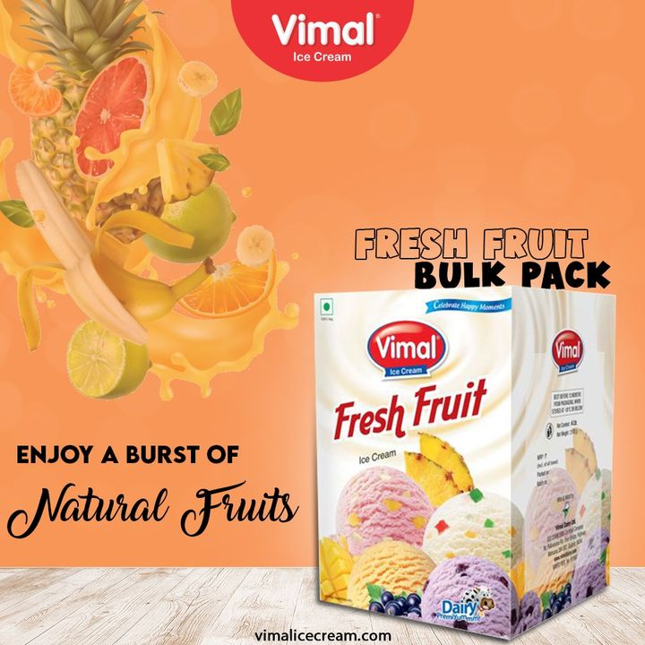 Enjoy a burst of natural fruits with the deliciousness of Fresh Fruit Bulk Pack Ice-cream Only by Vimal Ice-creams.  #VimalIceCream #IceCreamLovers #Vimal #IceCream #Ahmedabad
