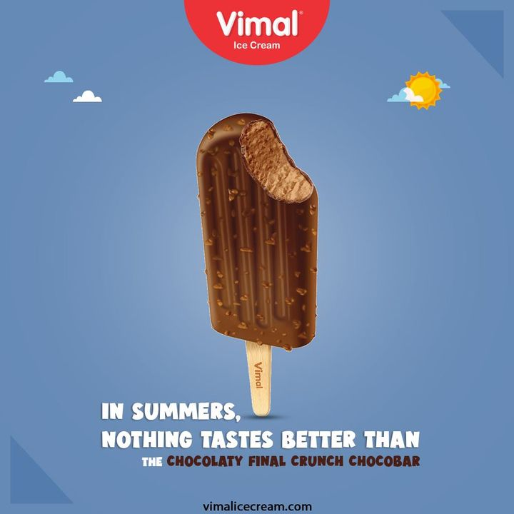 In summers, nothing tastes better than the chocolaty Final Crunch Chocobar. Try out the delicious and chilling range of Ice-creams only by Vimal Ice Cream.  #SummerApproaching #VimalIceCream #IceCreamLovers #Vimal #IceCream #Ahmedabad