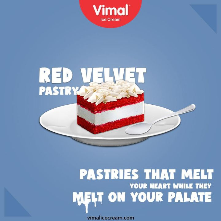 Enjoy the succulent Red Velvet Pastries that melt your heart while they melt on your palate, only by your favorite Vimal Ice-Creams.  #VimalIceCream #IceCreamLovers #Vimal #IceCream #Ahmedabad