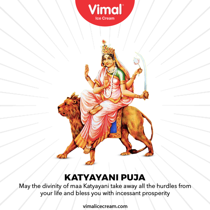 May the divinity of maa katyayani take away all the hurdles from your life and bless you with incessant prosperity.  #FestiveWishes #IndianFestival #VimalIceCream #IceCreamLovers #Vimal #IceCream #Ahmedabad