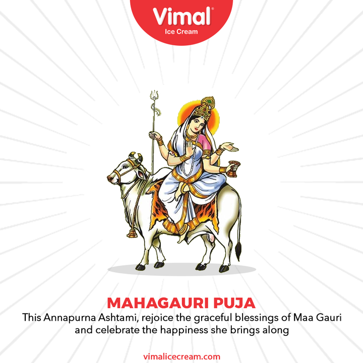 This Annapurna Ashtami, rejoice the graceful blessings of Maa Gauri and celebrate the happiness she brings along.  #FestiveWishes #IndianFestival #VimalIceCream #IceCreamLovers #Vimal #IceCream #Ahmedabad