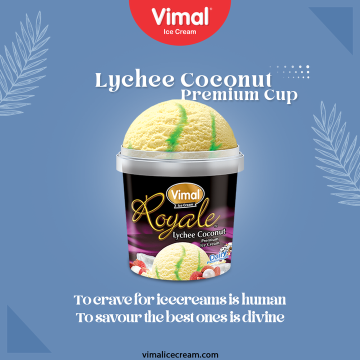 Summer days demand for the fantastic frostiest dessert called icecreams!  Roll your sleeves & get your spoon ready for this lychee coconut premium cup because to crave for icecreams is human but to savour the best ones is divine.  #VimalIceCream #IceCreamLovers #Vimal #IceCream #Ahmedabad