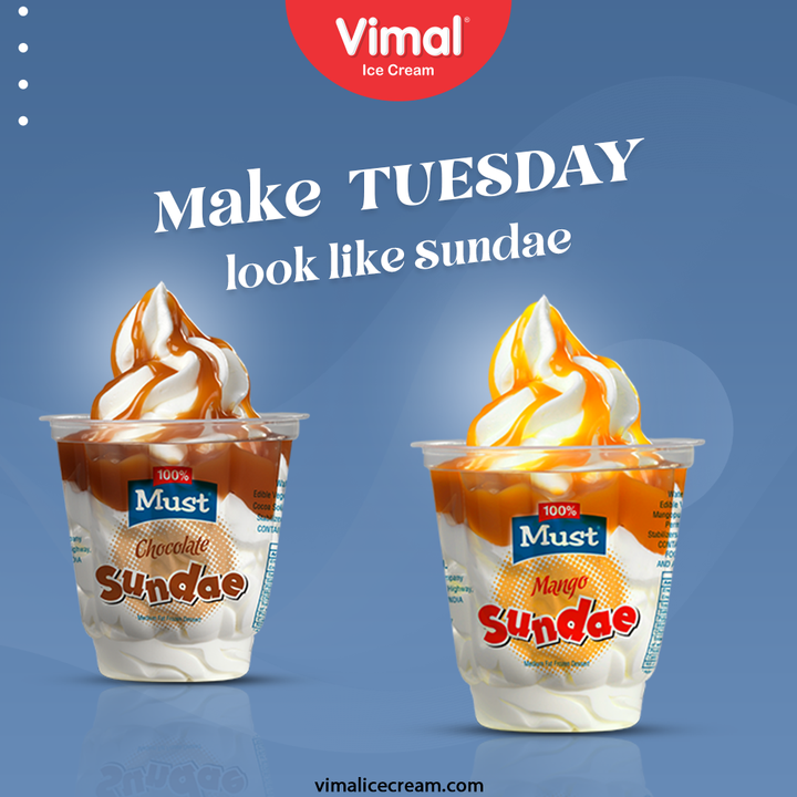 Never cease to rejoice the weekend vibes; Take delight in making this Tuesday look alike Sunade with Vimal Icecream.  #VimalIceCream #IceCreamLovers #Vimal #IceCream #Ahmedabad #Sundae #VimalSundae #HappyScooping