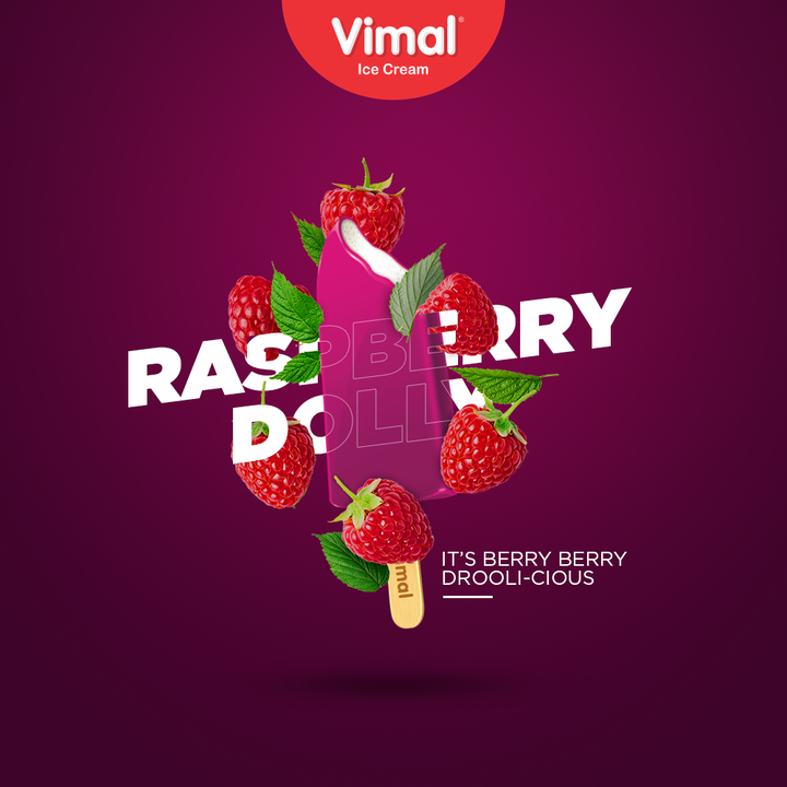 Keep falling for the fruit flavours! Get yourself the raspberry dolly because it is berry berry droolicious.  #Droolicious #BerrySome #VimalIceCream #IceCreamLovers #Vimal #IceCream #Ahmedabad #HappyScooping #RaspberryDolly