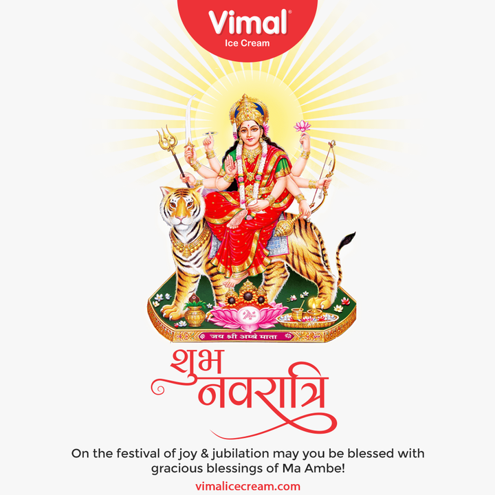On the festival of joy & jubilation may you be blessed with gracious blessings of Ma Ambe!  #Navratri #Navratri2021 #HappyNavratri #HappyNavratri2021 #Festival #VimalIceCream #IceCreamLovers #Vimal #IceCream #Ahmedabad