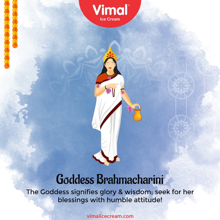 The Goddess signifies glory & wisdom; seek for her blessings with humble attitude!  #Navratri #Navratri2021 #HappyNavratri #HappyNavratri2021 #Festival #VimalIceCream #IceCreamLovers #Vimal #IceCream #Ahmedabad
