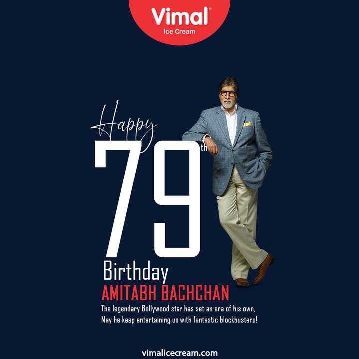 The legendary Bollywood star has set an era of his own; May he keep entertaining us with fantastic blockbusters!  #HappyBirthdayAmitabhBachchan #AmitabhBachchan #VimalIceCream #IceCreamLovers #Vimal #IceCream #Ahmedabad