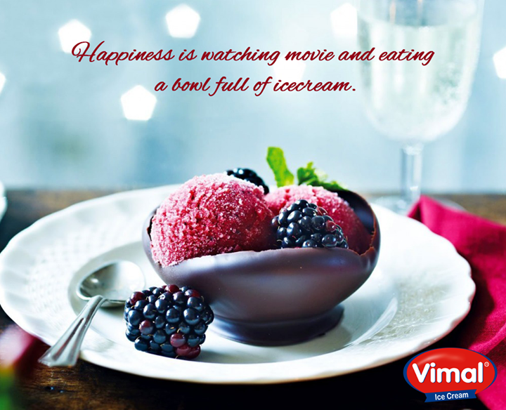 #Happiness is the combined activity of watching #movie and eating bowl full of #icecream  #IceCreamLovers #VimalIceCreams #Ahmedabad