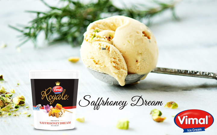 Honey and Saffron the dreamy combo is worthy enough to give you a royal treat!  #IcecreamLovers #RoyalTreat #VimalIcecream #Ahmedabad