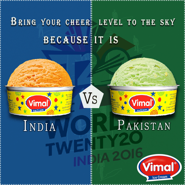 Raise your voice and cheer out loudly for the most exciting match!  #CheerForIndia #IndiaVsPakistan #GoIndiaGo #SupportIndia #VimalIcecream #Ahmedabad