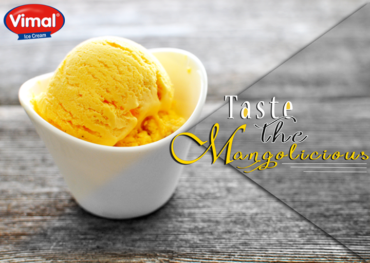 Luscious, rich and creamy mango ice cream is the best thing that summer has to offer…don't you agree?  #MangoIcecream #SummerSpecial #IcecreamLovers #VimalIcecream #Ahmedabad