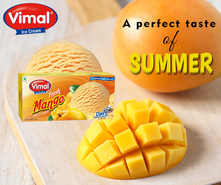 Mango ice cream turns out to be the most wanted flavour for the #Summers! Don't you guys agree?  #MangoIcecream #IcecreamLovers #Summers #VimalIcecream #Ahmedabad
