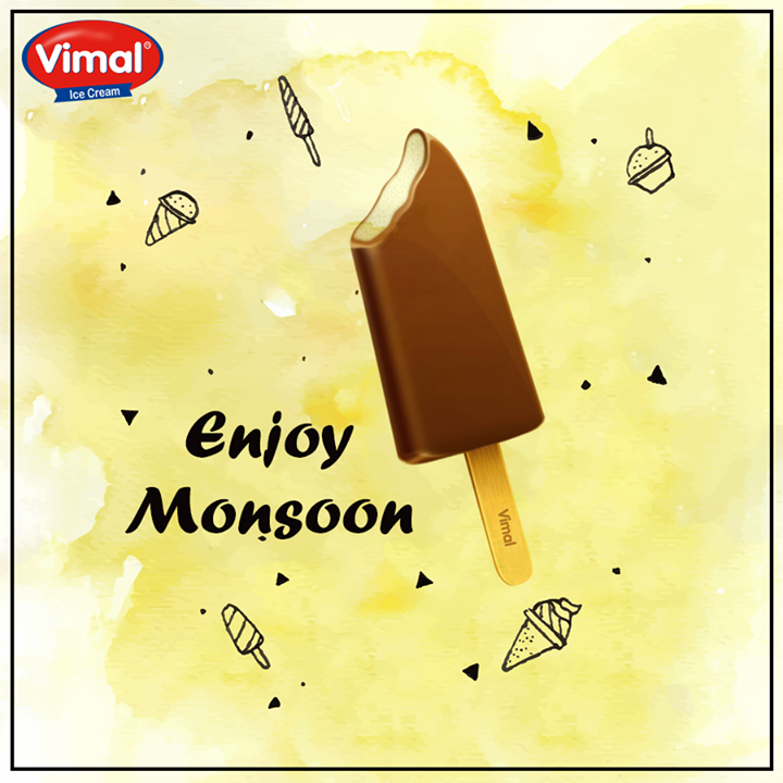 Get soaked in the #Rain & enjoy delicious chocolaty bites of while taking a look at the cloudy sky.  #VimalIcecream #Ahmedabad