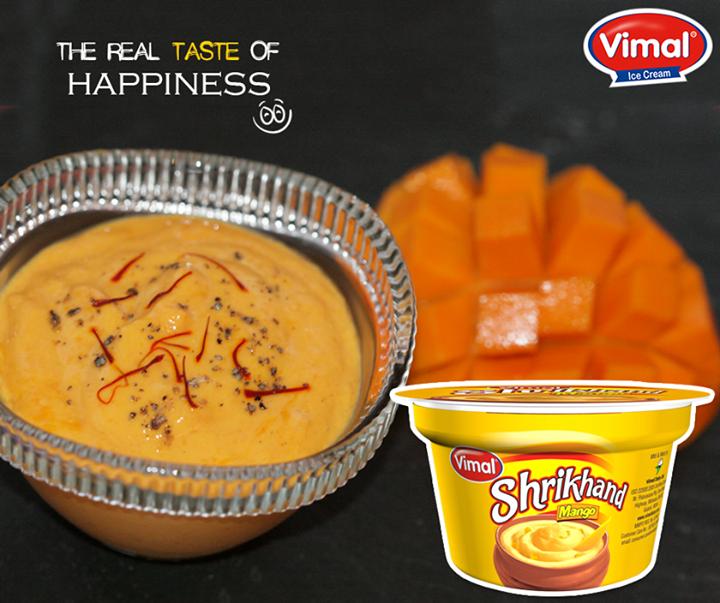 Experience the real taste of happiness with Mango Shrikhand.  #MangoShrikhand #IcecreamLovers #VimalIcecream #Ahmedabad