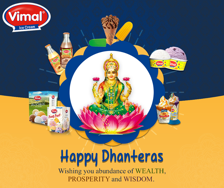 On this #Dhanteras, here's wishing you wealth, health and prosperity  #HappyDhanteras #FestiveWishes #Diwali #IndianFestivals #DiwaliisHere #VimalIcecream #Ahmedabad