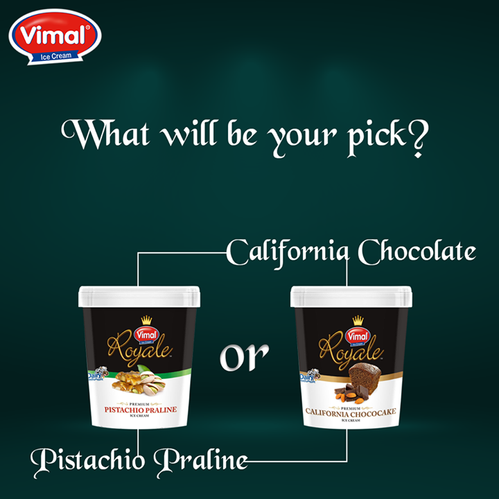 When you have to choose between your 2 favorite ice-cream #Combinations. What will be your pick?  #PistachioPraline #CaliforniaChocolate #VimalIcecream #Ahmedabad