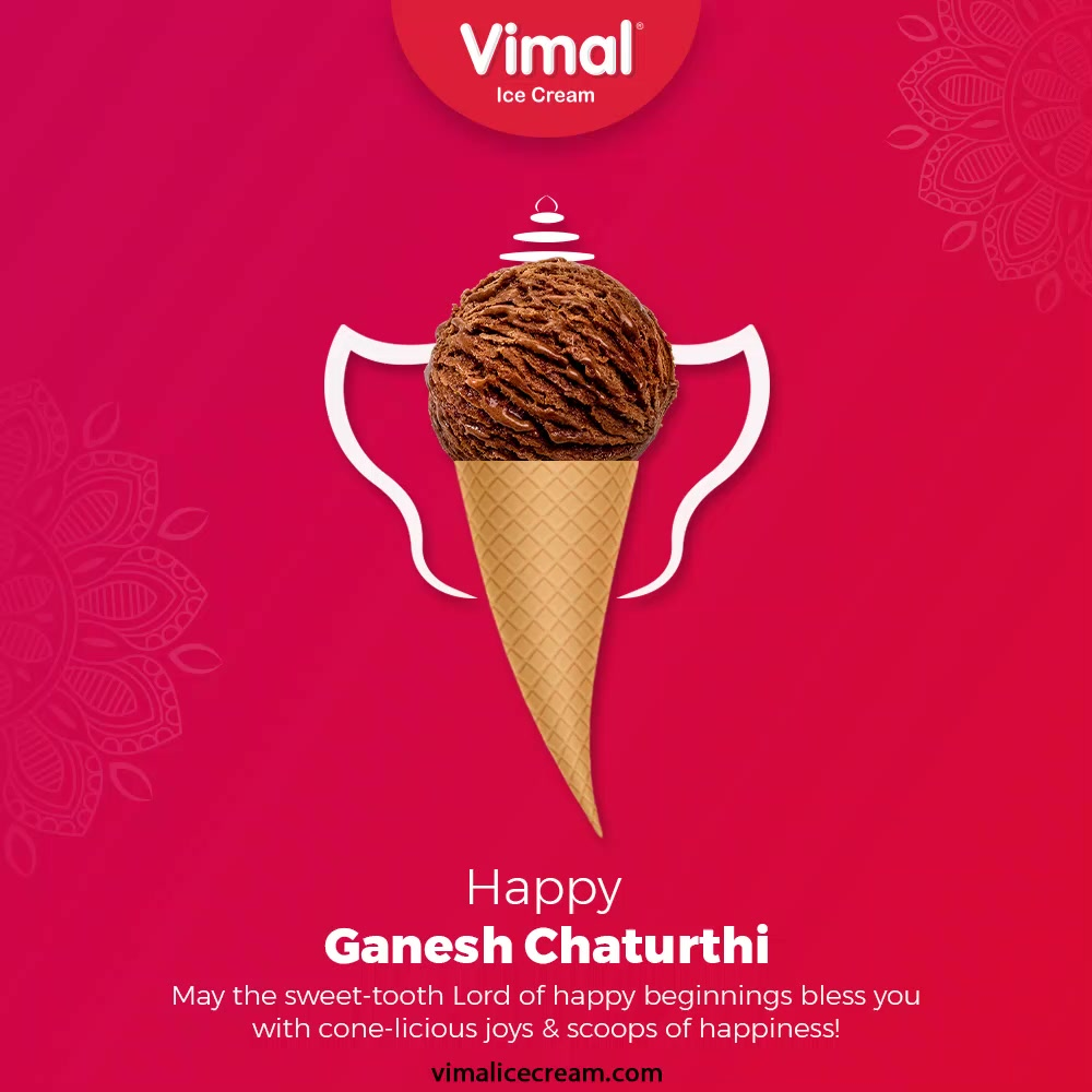 May the sweet-tooth Lord of happy beginnings bless you with cone-licious joys & scoops of happiness!  #GaneshChaturthi #HappyGaneshChaturthi #GaneshChaturthi2021 #LordGanesha  #IndianFestival #VimalIceCream #IceCreamLovers #Vimal #IceCream #Ahmedabad
